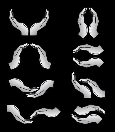 Vector hands icons. Black and white. Simply change. Stock Vector - 4312085
