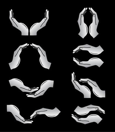 mains: Vector mains ic�nes. Noir et blanc. Il suffit de changer.