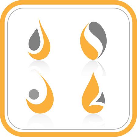 gocce di colore: Vector abstract internet icons. Orange set. Semplicemente cambiare. Altre icone astratte si pu� vedere nel mio portafoglio. Vettoriali