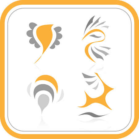 Vector abstract internet icons. Orange set. Simply change. Other abstract icons you can see in my portfolio. Illustration