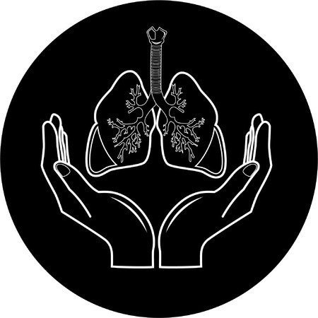 computer health: Medical icon. Protection of lungs. Black and white. Simply change. Illustration