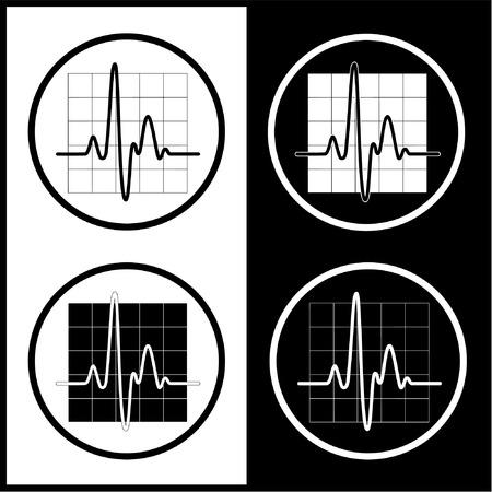 logo medicina: Cardiograma vector iconos. Blanco y negro. Simplemente el cambio.