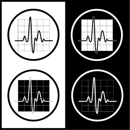 stability: Vector cardiogram icons. Black and white. Simply change. Illustration
