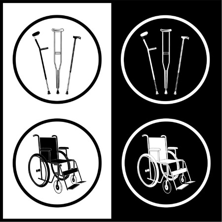 Vector crutches and invalid chair icons. Black and white. Simply change.  Vector