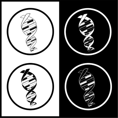 Vector DNA icons. Black and white. Simply change.  Vector
