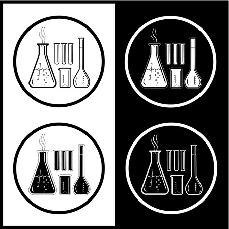 Vector chemical test tubes icons. Black and white. Simply change. Vector