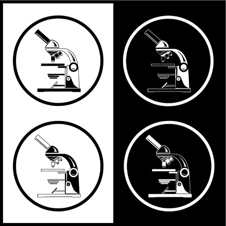 Vector microscope icons. Black and white. Simply change.  Vector