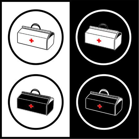 Vector medical suitcase icons. Black and white. Simply change.  Vector