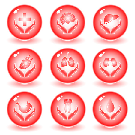 medicina interna: Vector m�dica iconos. Conjunto rojo. Simplemente el cambio. Otros iconos m�dico puede ver en mi cartera.