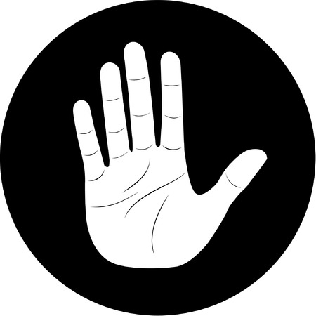 unicoloured: Vector hand icon. Black and white. Simply change.