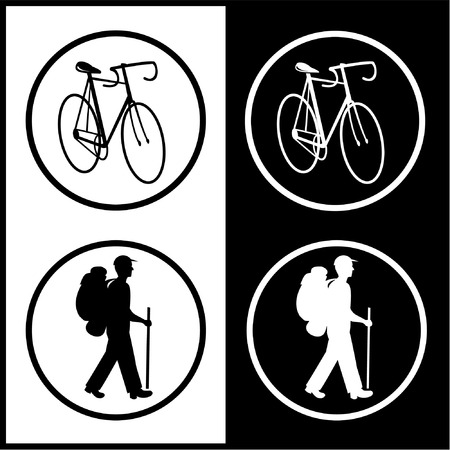 unicoloured: Vector bicycle and traveller icons. Black and white. Simply change.
