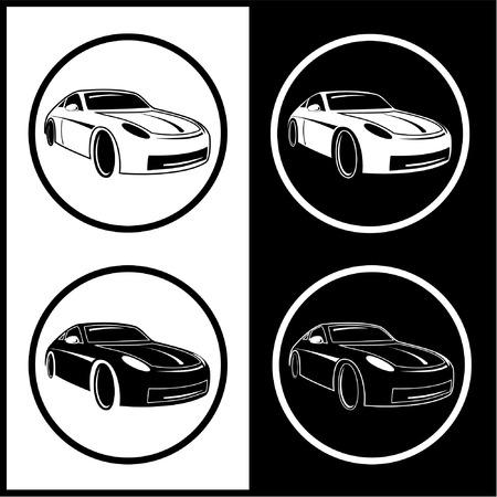 white car: Icone Vector auto. In bianco e nero. Semplicemente cambiare. Vettoriali