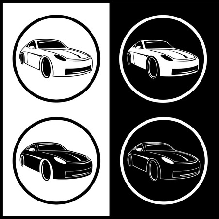 Vector car icons. Black and white. Simply change.  Illustration
