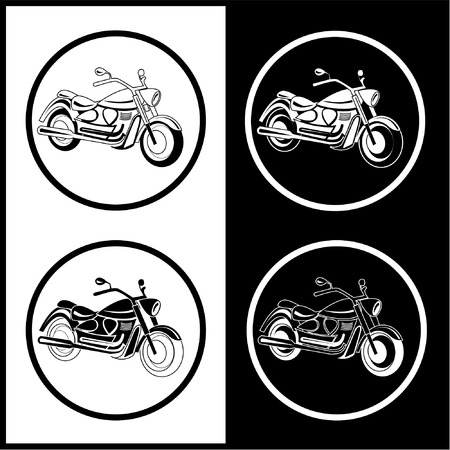 Vector motorcycle icons. Black and white. Simply change.  Vector