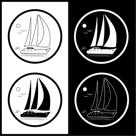 Vector yacht icons. Black and white. Simply change.