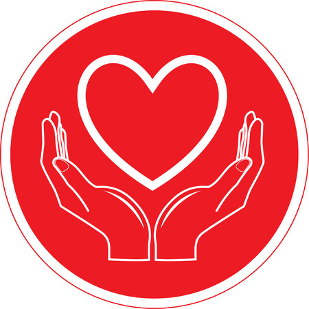Vector heart and hands icon. Red and white. Simply change. Stock Vector - 4343988