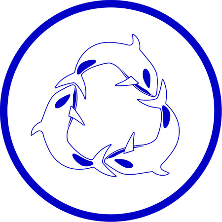 Vector killer whale icon. Blue and white. Simply change.  Vector
