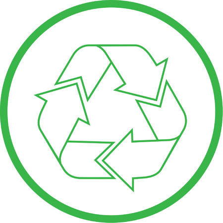 unicoloured: Vector recycle icon. Green and white. Simply change.