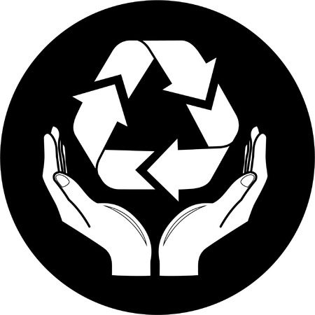 Vector recycle symbol in hands icon. Black and white. Simply change. Vector