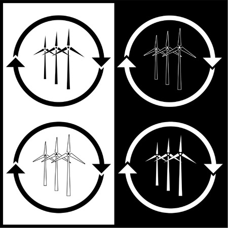 Vector wind turbine icons. Back and white. Simply change.  Vector