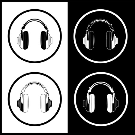 Vector headphones icons. Black and white. Simply change.  Vector
