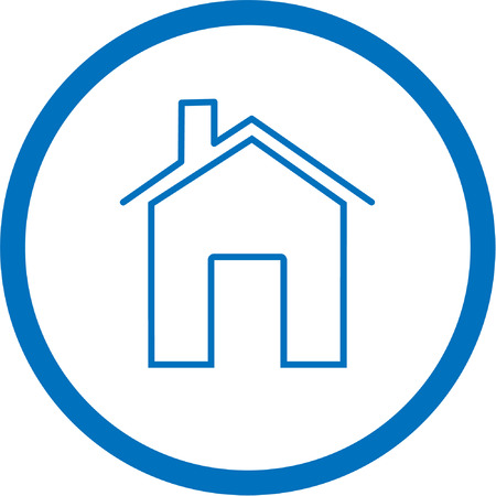 unicoloured: Vector home icon. Blue and white. Simply change.  Illustration