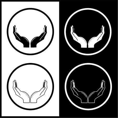 Vector hands icons. Black and white. Simply change.  Vector