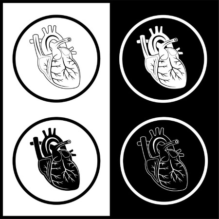medical computer: Vector heart icons. Black and white. Simply change.  Illustration