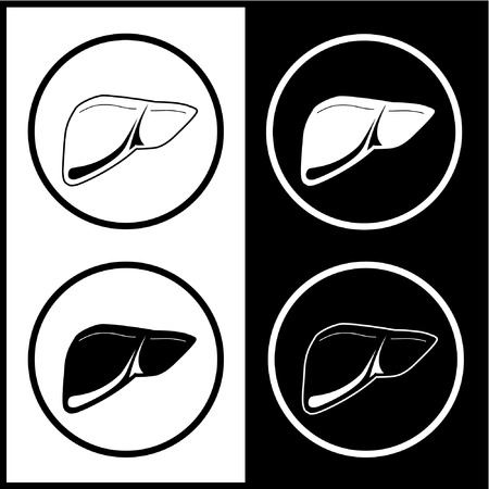 Vector liver icons. Black and white. Simply change. Stock Vector - 4351242