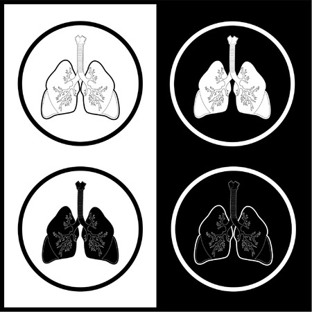 Vector lungs icons. Black  and white. Simply change.  Vector