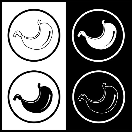 sphincter: Vector stomach icons. Black and white. Simply change.