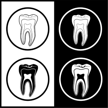 Vector tooth icons. Black and white. Simply change. Illustration