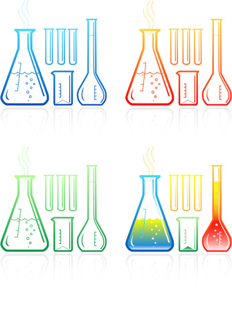 Vector chemical test tubes icons. Simply change. Illustration