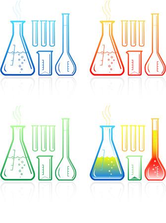 Vector chemische Reagenzgläser Symbole. Einfach ändern.