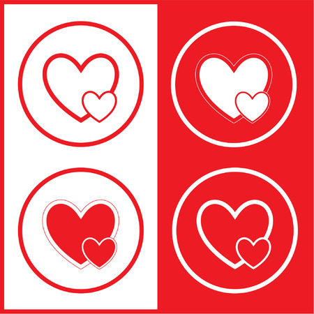 careful: Vector careful heart icons. Red and white. Simply change.
