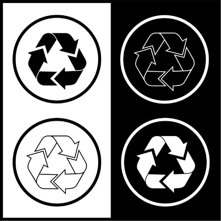 unicoloured: Vector recycle icons. Black and white. Simply change. Illustration