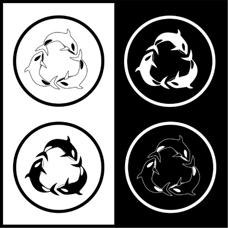 unicoloured: Vector killer whale icons. Black and white. Simply change.