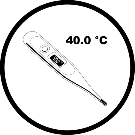 Vector thermometer icon. Shows 40 degrees Celsius. Black and white. Simply change. Vector
