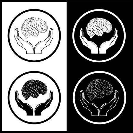 cerebro blanco y negro: Protecci�n del cerebro. Vector m�dica iconos. Blanco y negro. Simplemente el cambio. Vectores