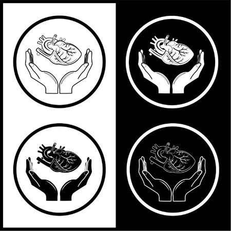 Vector medical icons. Protection of heart. Black and white. Simply change.