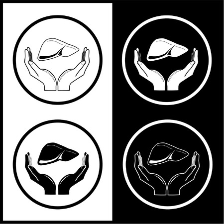Vector medical icons. Protection of liver. Black and white. Simply change. Vector