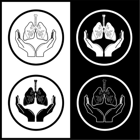 pulmones: Vector medical icons. Protection of lungs. Black and white. Simply change. Illustration
