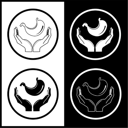 Vector medical icons. Protection of stomach. Black and white. Simply change.