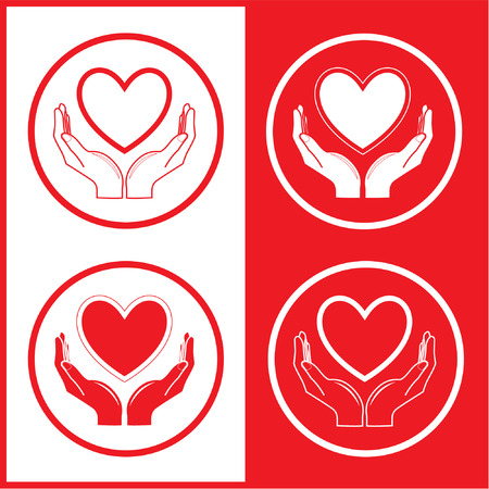 notion: Vector heart and hands icons. Red and white. Simply change.