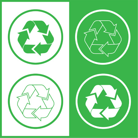 unicoloured: Vector recycle icons. Green and white. Simply change.
