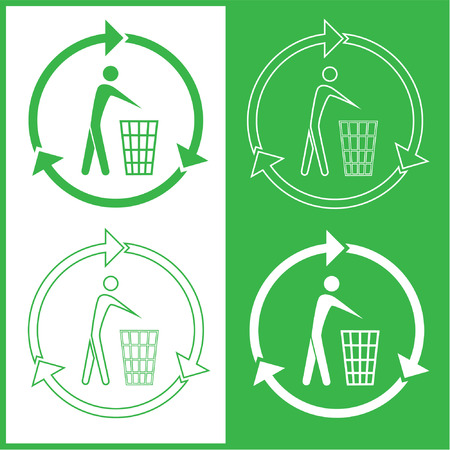 Vector recycling bin icons. Green and white. Simply change. Stock Vector - 4361068