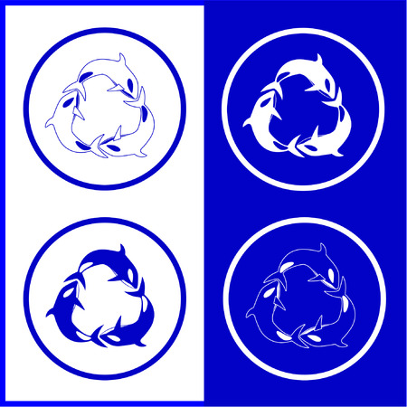 Vector killer whale icons. Blue and white. Simply change.  Vector