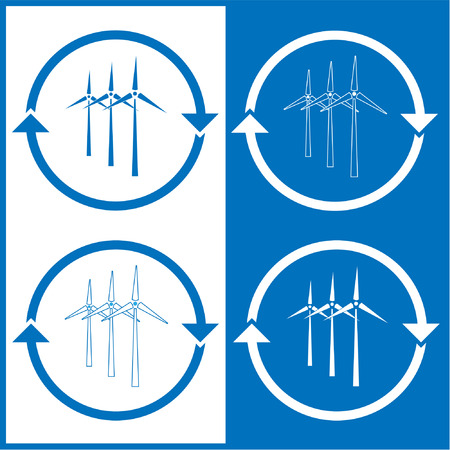 Vector wind turbine icons. Blue and white. Simply change.  Vector