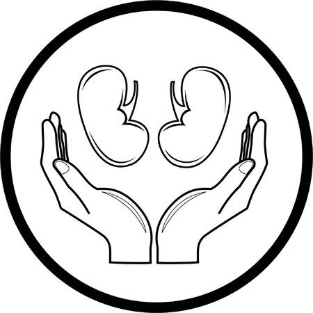 Bescherming van de nieren. Vector medische pictogram. Zwart en wit. Gewoon veranderen.