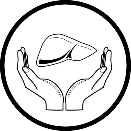 manos logo: Icono m�dica. Protecci�n de h�gado. Blanco y negro. Simplemente el cambio.